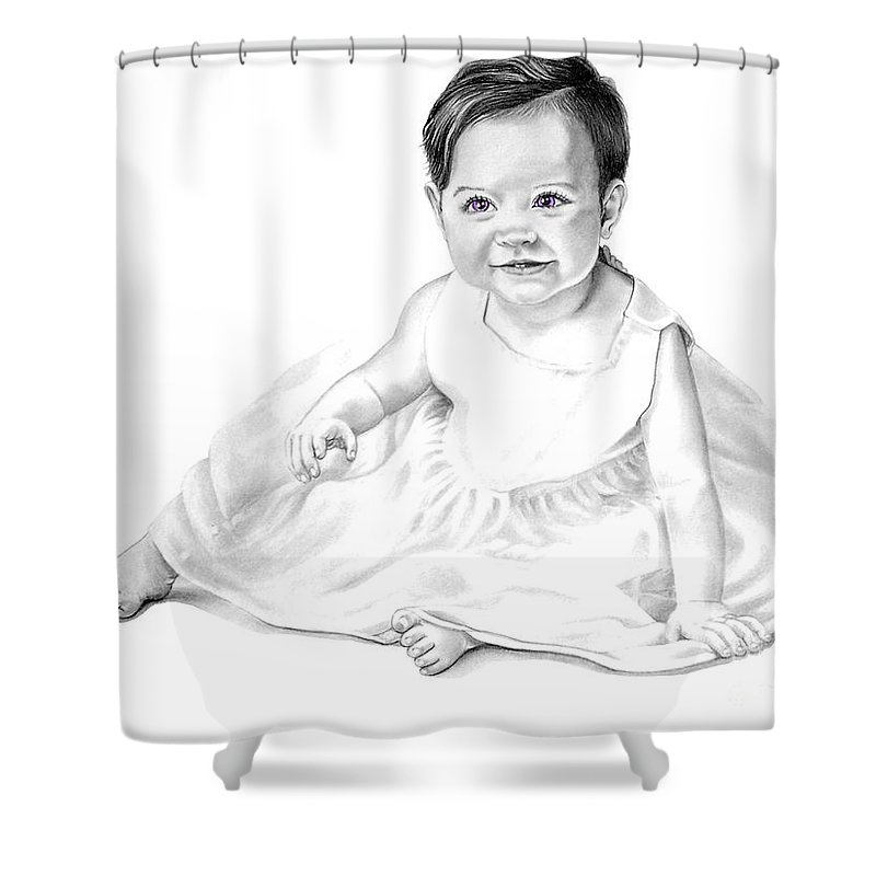 Baby Shower Curtain featuring the drawing Baby Jane by Murphy Elliott