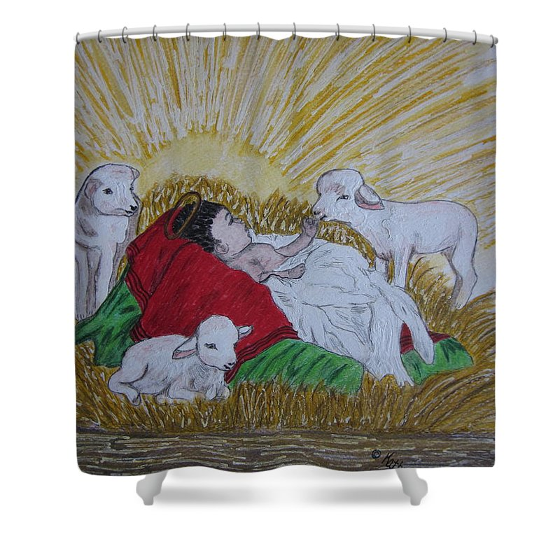 Saviour Shower Curtain featuring the painting Baby Jesus At Birth by Kathy Marrs Chandler