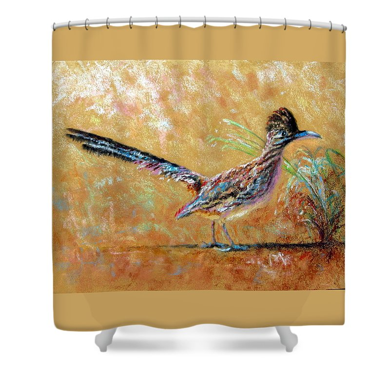 Baby Shower Curtain featuring the painting Baby Roadrunner by Shirley Leswick