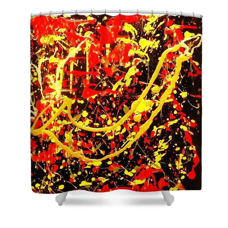 Golden Shower Curtain featuring the painting Baby Sax by James Adger