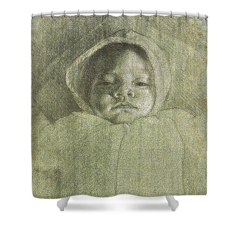 Shower Curtain featuring the painting Baby Self Portrait by Joe Velez