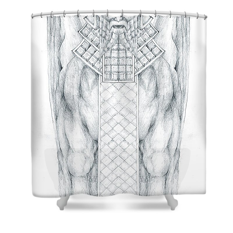 Babylonian Shower Curtain featuring the drawing Babylonian Sphinx Lamassu by Curtiss Shaffer