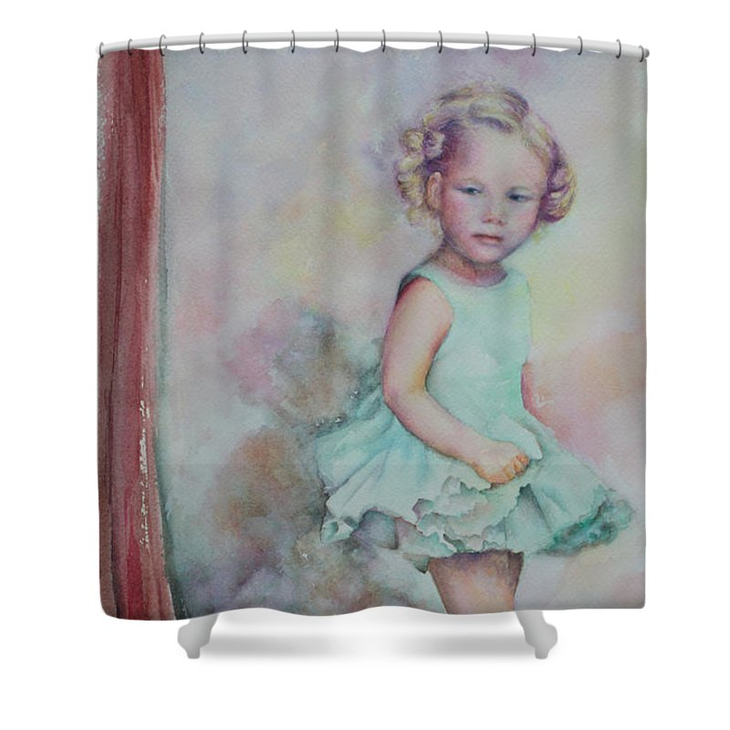Watercolor Painting Shower Curtain featuring the painting Baby's Debut by Mary Beglau Wykes