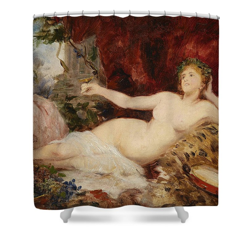 Hans Shower Curtain featuring the painting Bacchanal by Hans Makart Ruhende