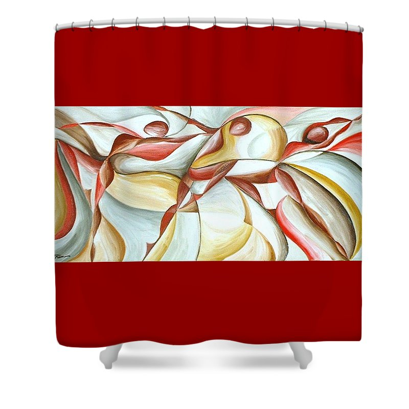 Figure Shower Curtain featuring the painting Bacchanal by Rowena Finn