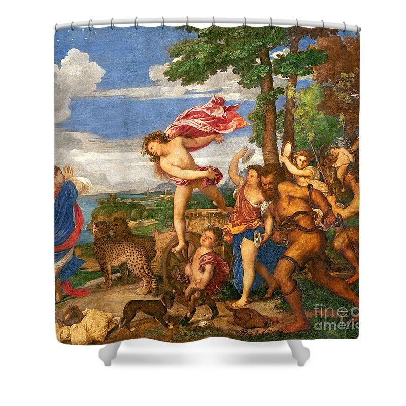 Bacchus Shower Curtain featuring the painting Bacchus And Ariadne by Titian