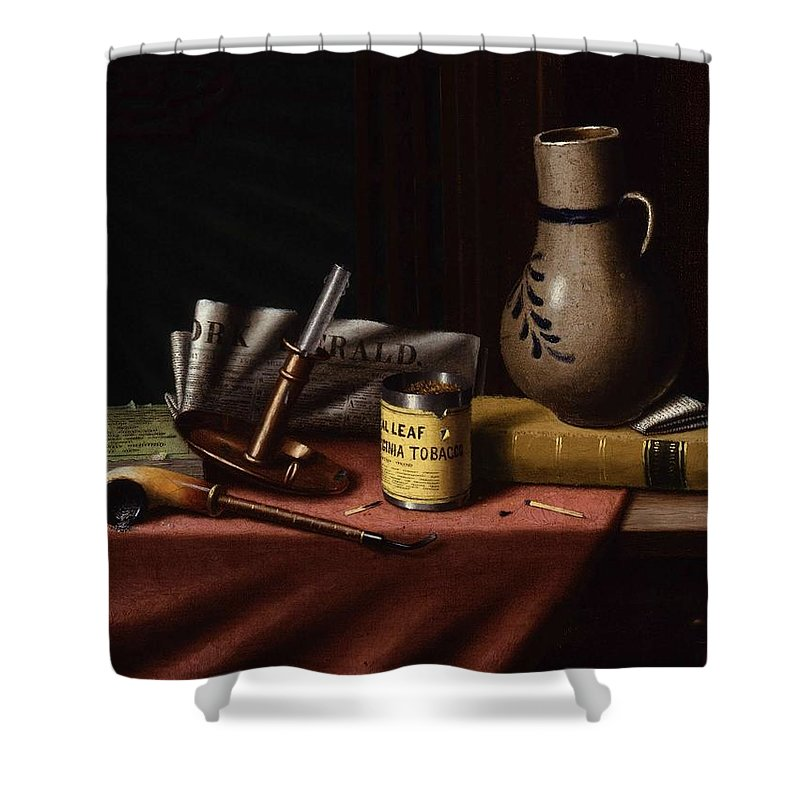 Art Shower Curtain featuring the painting Bachelor S Table By William Michael Harnett by William Michael Harnett
