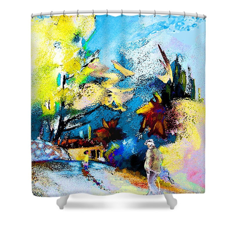 Pastel Painting Shower Curtain featuring the painting Back Home by Miki De Goodaboom