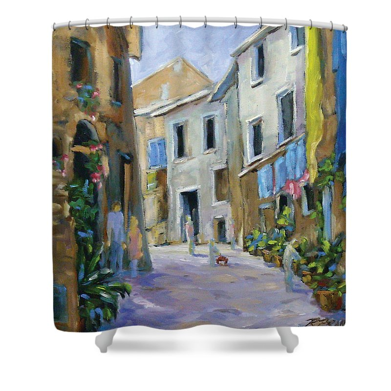 Urban Shower Curtain featuring the painting Back Street by Richard T Pranke