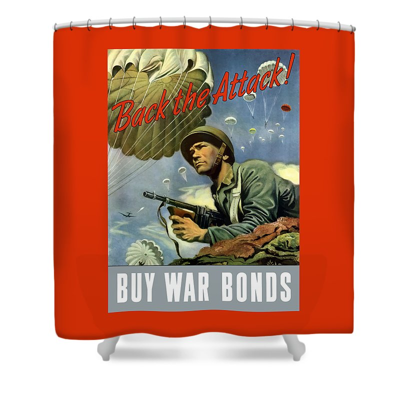 Airborne Shower Curtain featuring the painting Back The Attack Buy War Bonds by War Is Hell Store