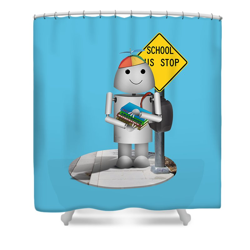 Back To School Shower Curtain featuring the mixed media Back To School Little Robox9 by Gravityx9 Designs