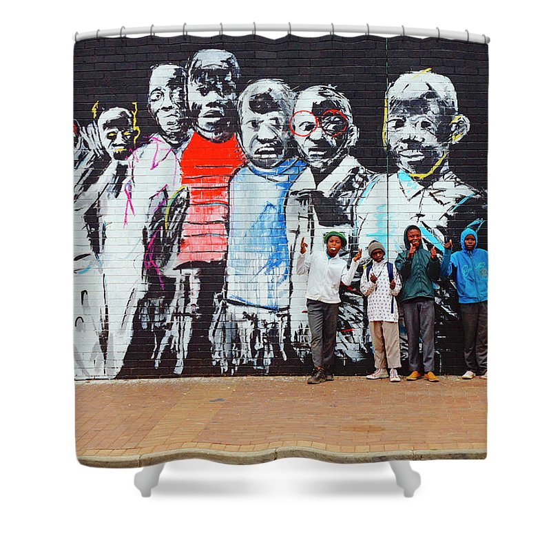 Street Mural Shower Curtain featuring the photograph Back To School by Suzanne Morshead