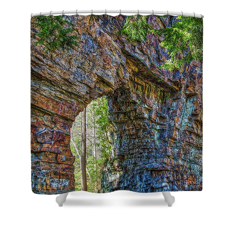 Tunnel Shower Curtain featuring the photograph Backbone Rock Tunnel by Bluemoonistic Images