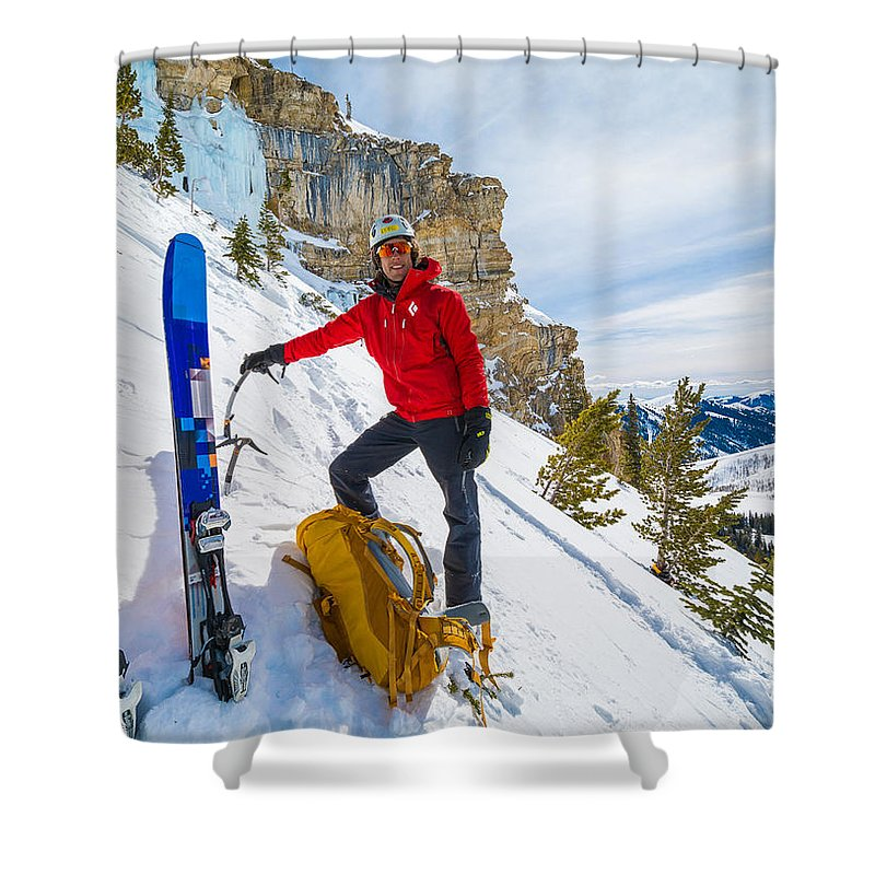 Climbing Shower Curtain featuring the photograph Backcountry Skier Preps For Ice Climbing On Cobb Peak In Idaho by Elijah Weber