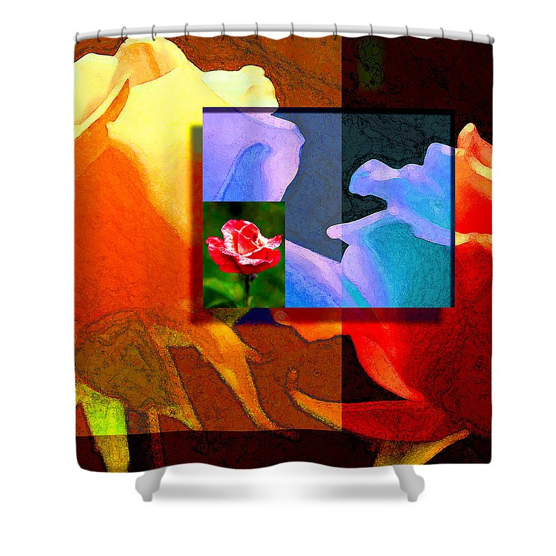 Modern Shower Curtain featuring the digital art Backlit Roses by Stephen Lucas
