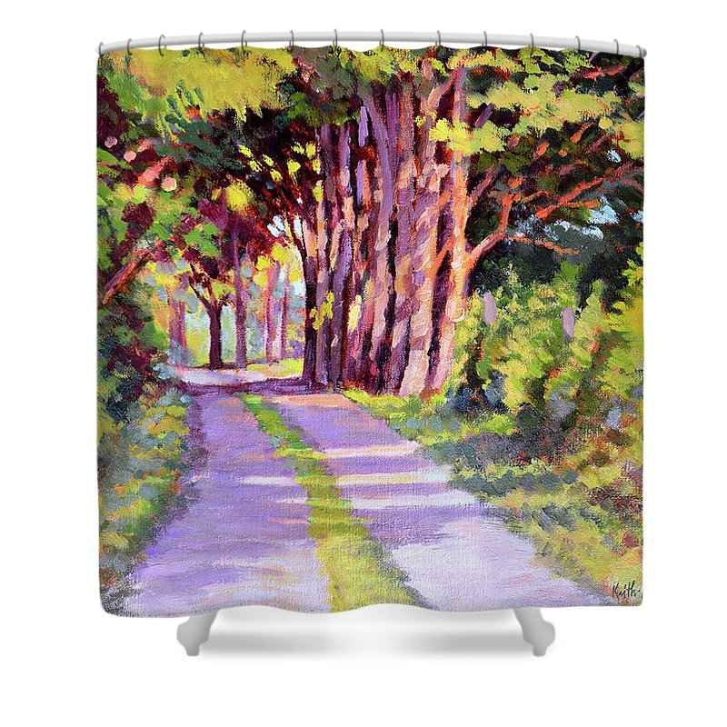Road Shower Curtain featuring the painting Backroad Canopy by Keith Burgess
