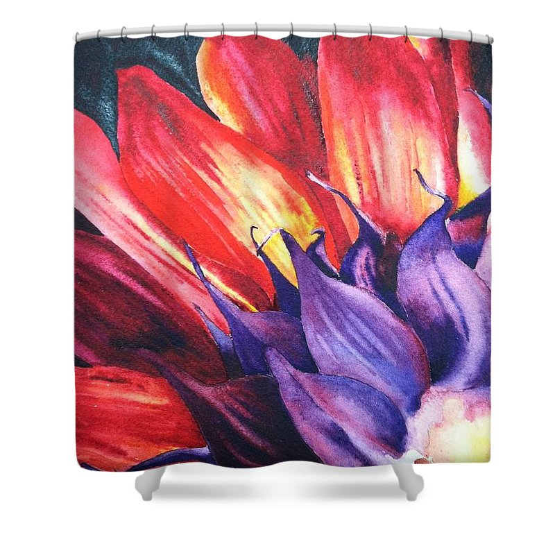Floral Shower Curtain featuring the painting Backwards by Karen Stark