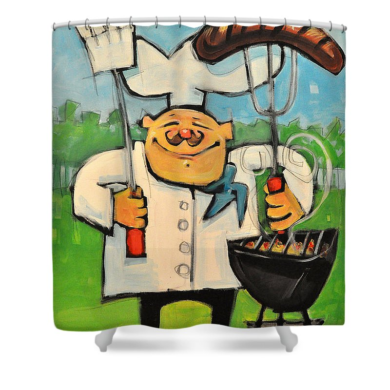 Chef Shower Curtain featuring the painting Backyard Bistro by Tim Nyberg