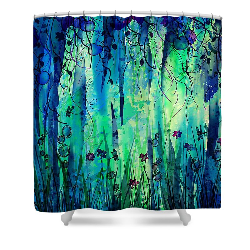Abstract Shower Curtain featuring the digital art Backyard Dreamer by William Russell Nowicki