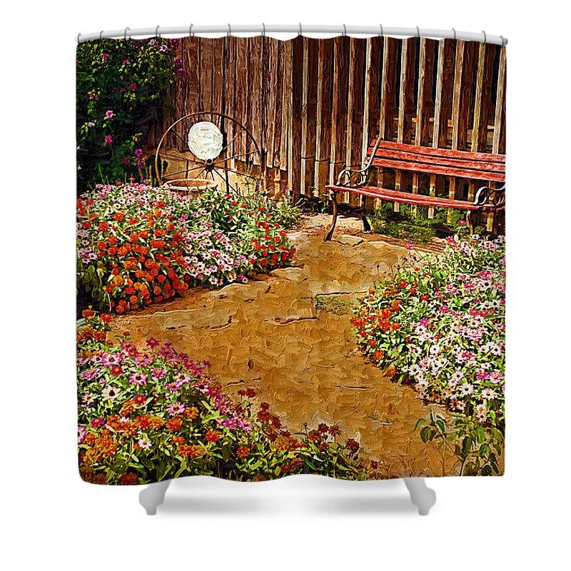 Pink Flower Shower Curtain featuring the digital art Backyard Garden by Paul Bartoszek
