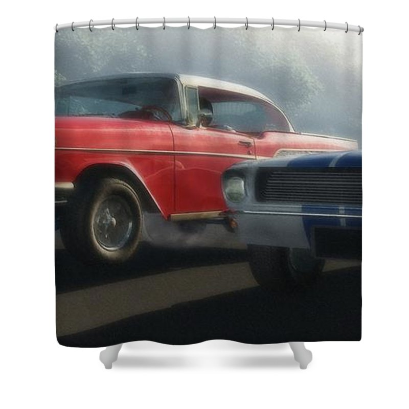 Hot Rods Shower Curtain featuring the digital art Bad Company by Richard Rizzo
