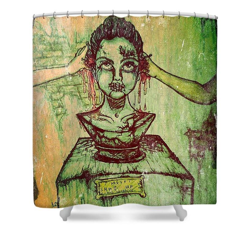 Creepy Shower Curtain featuring the drawing Bad Headache by Misty Greyeyes