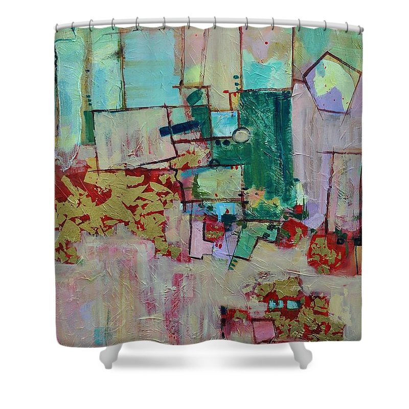 Geometric Abstract Shower Curtain featuring the painting BadaBing by Ginger Concepcion