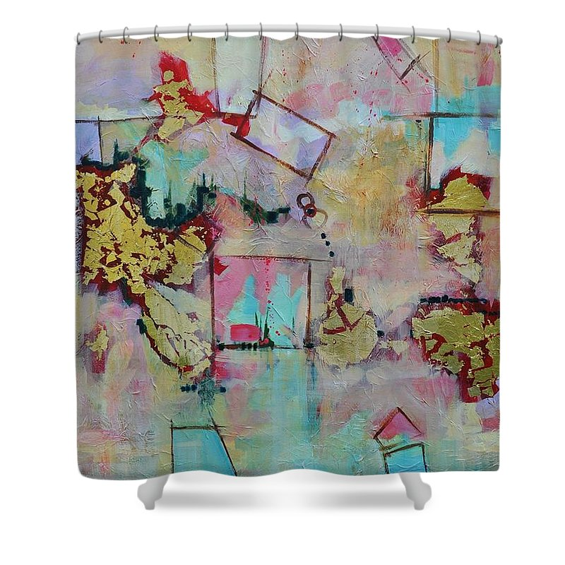 Geometric Abstract Shower Curtain featuring the painting BadaBoom by Ginger Concepcion