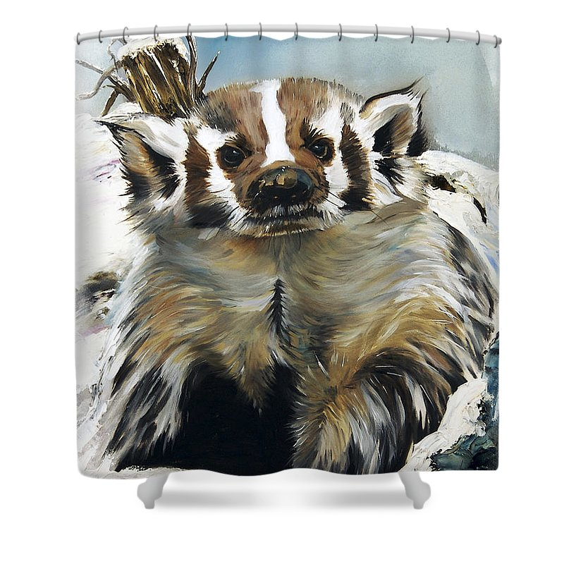 Southwest Art Shower Curtain featuring the painting Badger - Guardian Of The South by J W Baker