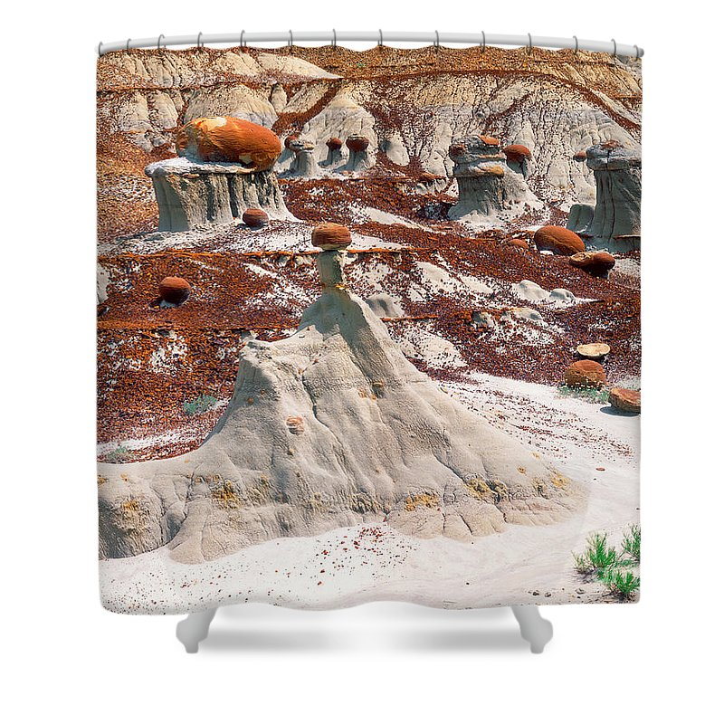 Cannonball Concretion Shower Curtain featuring the photograph Badlands, Theodore Roosevelt Np by Willard Clay