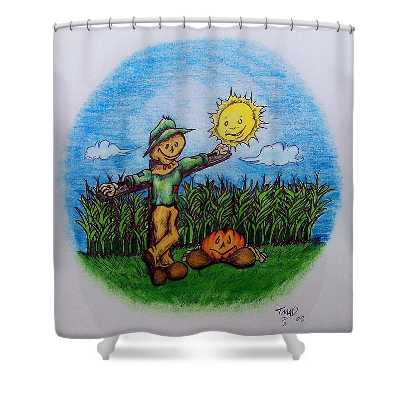 Michael Shower Curtain featuring the drawing Baggs And Boo by Michael TMAD Finney