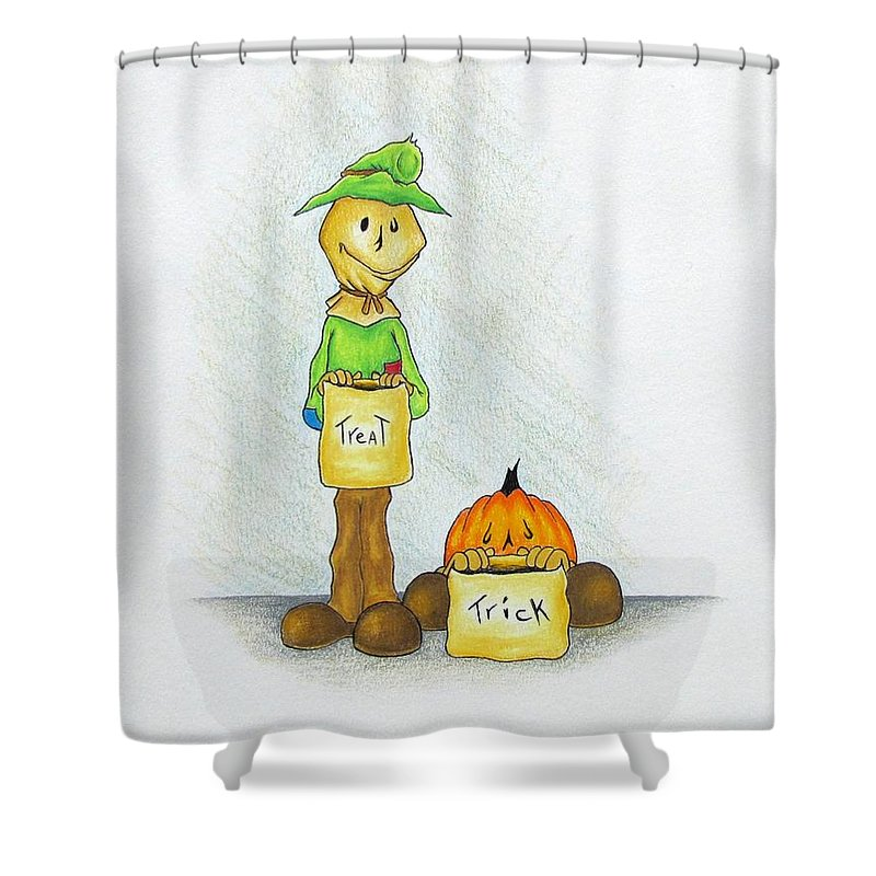 Michael Tmad Finney Shower Curtain featuring the drawing Baggs And Boo Treat Or Trick by Michael TMAD Finney