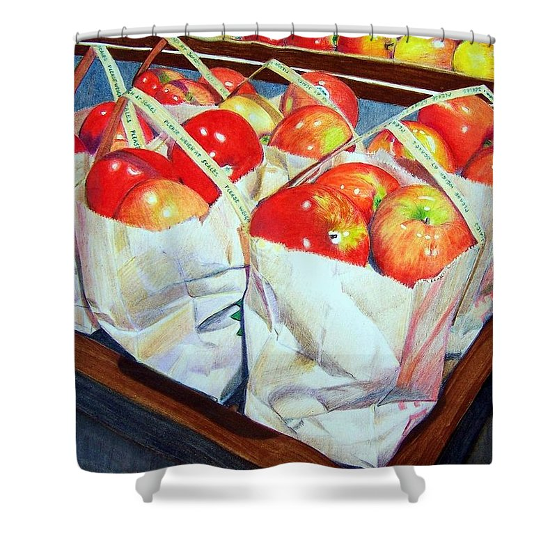 Apples Shower Curtain featuring the mixed media Bags Of Apples by Constance Drescher