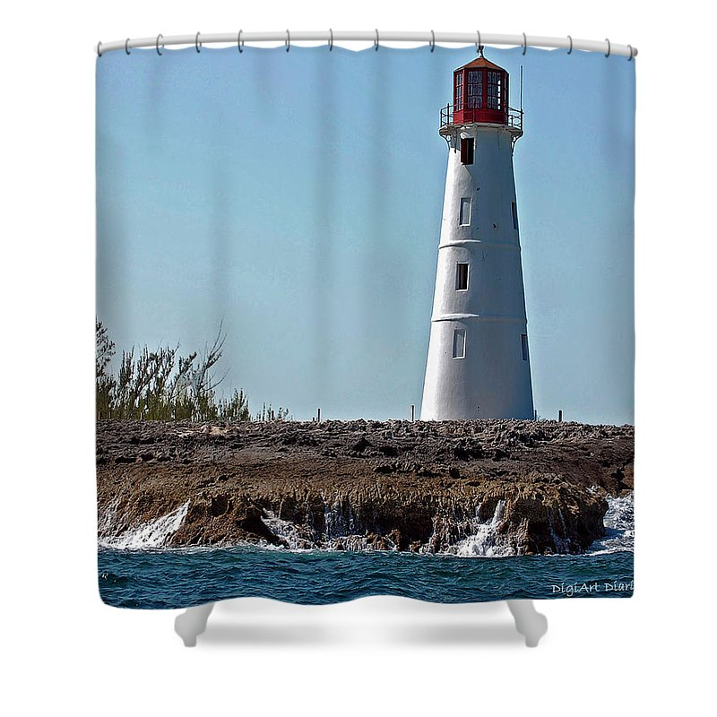 Ocean Shower Curtain featuring the digital art Bahamas Lighthouse by DigiArt Diaries by Vicky B Fuller