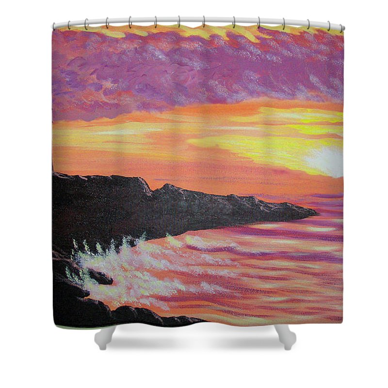Seascape Shower Curtain featuring the painting Bahia At Sunset by Marco Morales