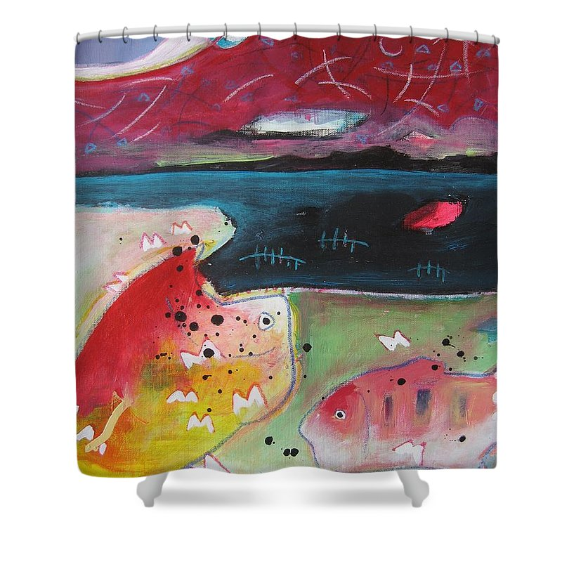 Acrylic Paintings Shower Curtain featuring the painting Baieverte by Seon-Jeong Kim