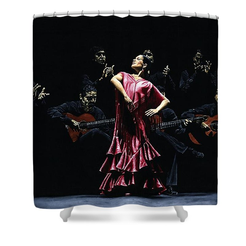 Flamenco Shower Curtain featuring the painting Bailarina Orgullosa Del Flamenco by Richard Young
