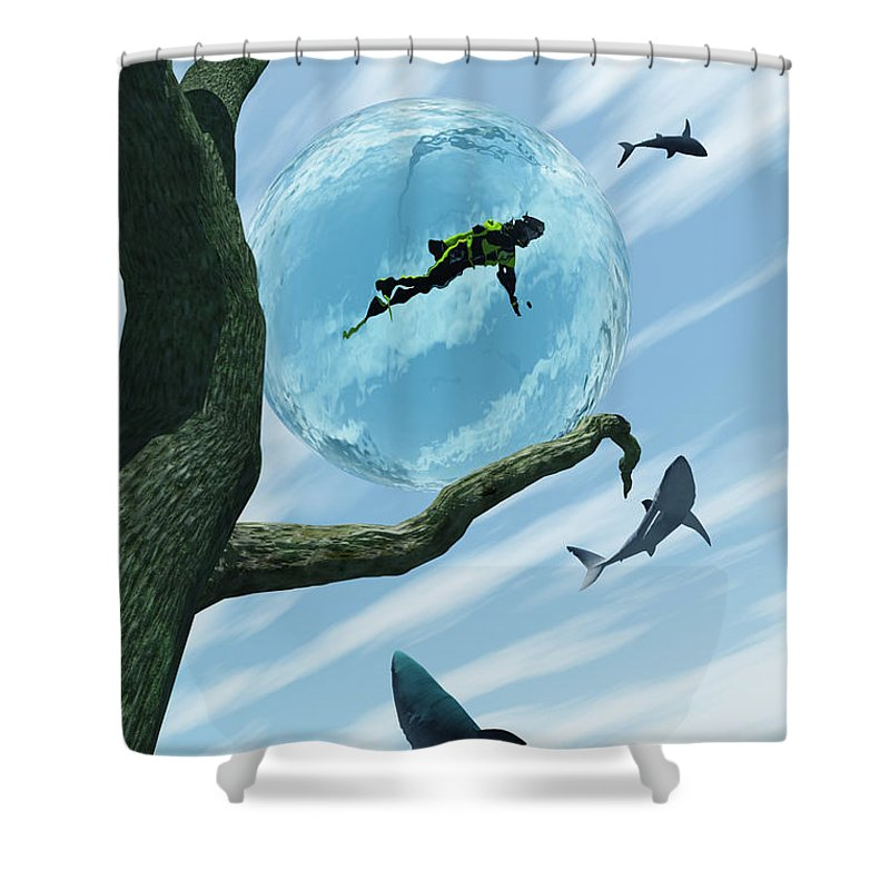 Surreal Shower Curtain featuring the digital art Bait by Richard Rizzo