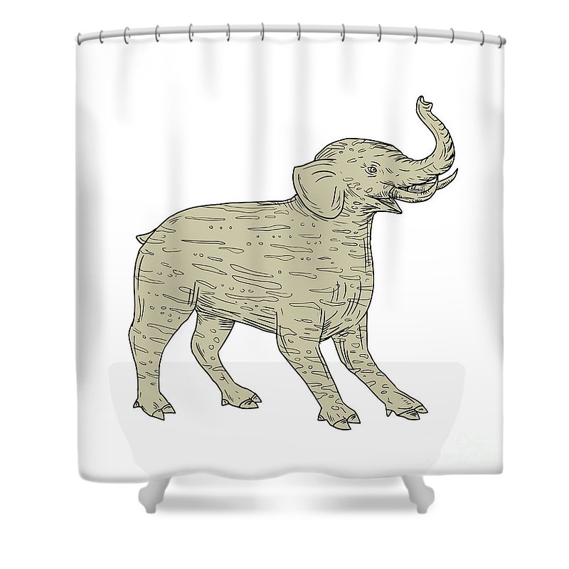 Drawing Shower Curtain featuring the digital art Baku Side Drawing by Aloysius Patrimonio