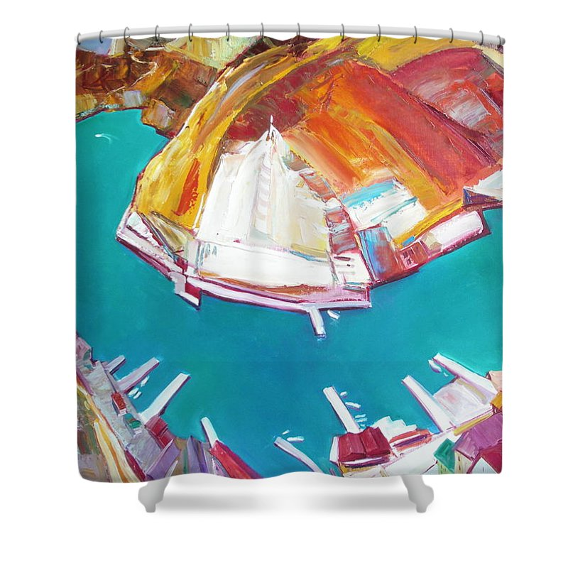Ignatenko Shower Curtain featuring the painting Balaklaw Bay by Sergey Ignatenko