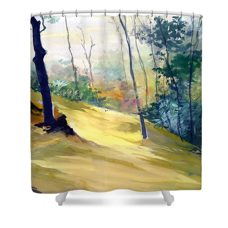 Landscape Shower Curtain featuring the painting Balance by Anil Nene