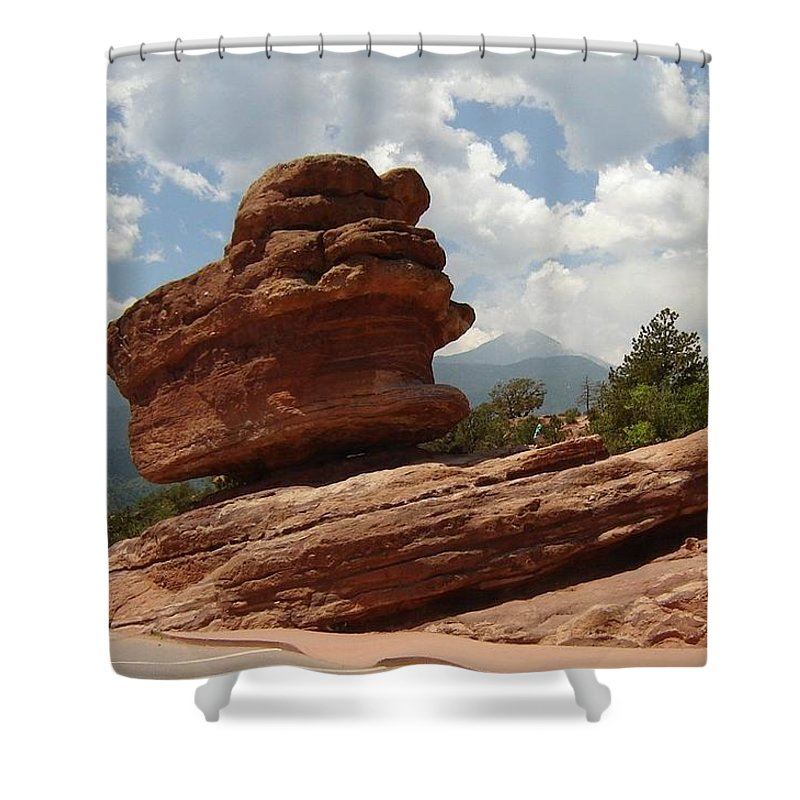 Colorado Shower Curtain featuring the photograph Balance Rock by Anita Burgermeister