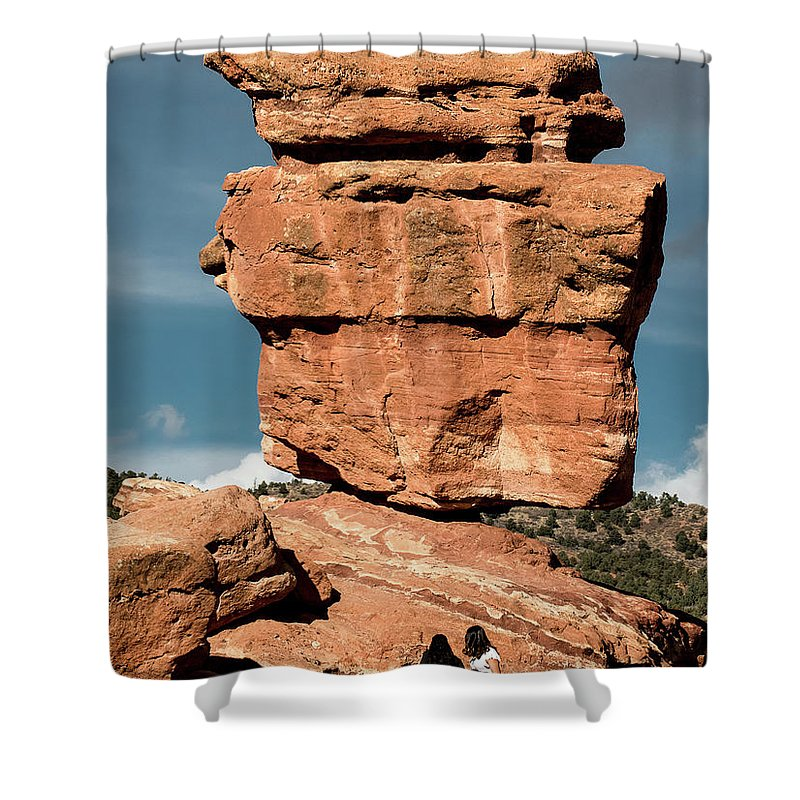 Balanced Rock Shower Curtain featuring the photograph Balanced Rock At Garden Of The Gods by Jennifer Mitchell