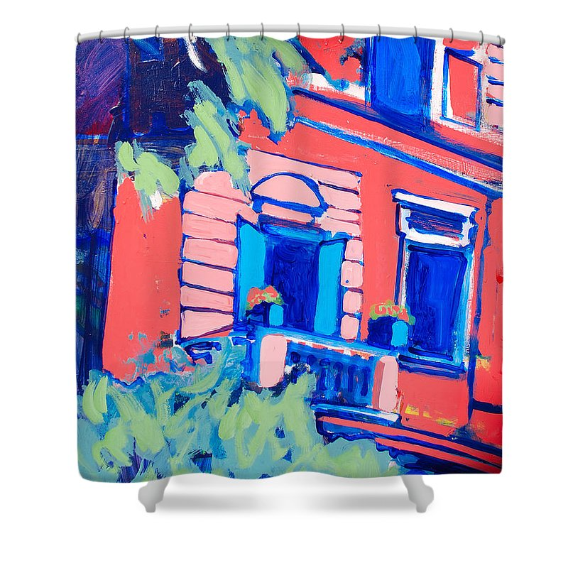 Balcony Shower Curtain featuring the painting Balcone by Kurt Hausmann