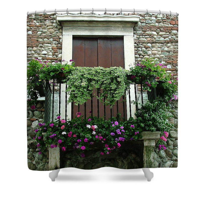 Italy Shower Curtain featuring the photograph Balcony On Pebbled Wall by Donna Corless