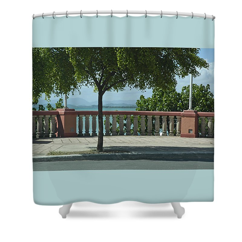 Landscape Shower Curtain featuring the photograph Balcony On The Beach In Naguabo Puerto Rico by Tito Santiago