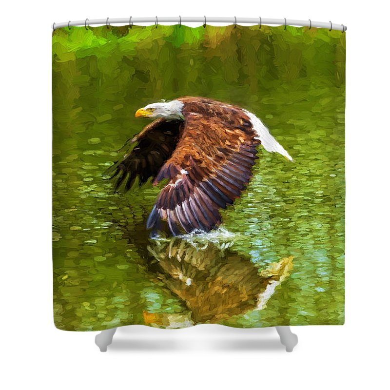 Birds Shower Curtain featuring the photograph Bald Eagle Cutting The Water by Les Palenik