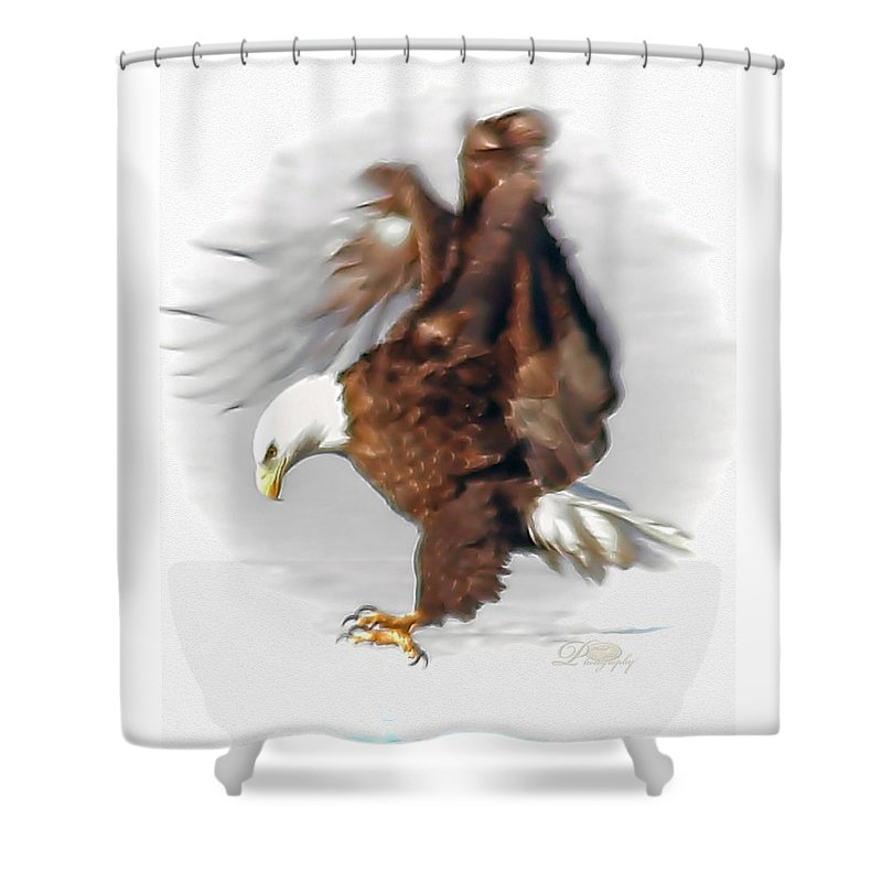 Bald Eagle Shower Curtain featuring the photograph Bald Eagle Landing by Michael Johnk