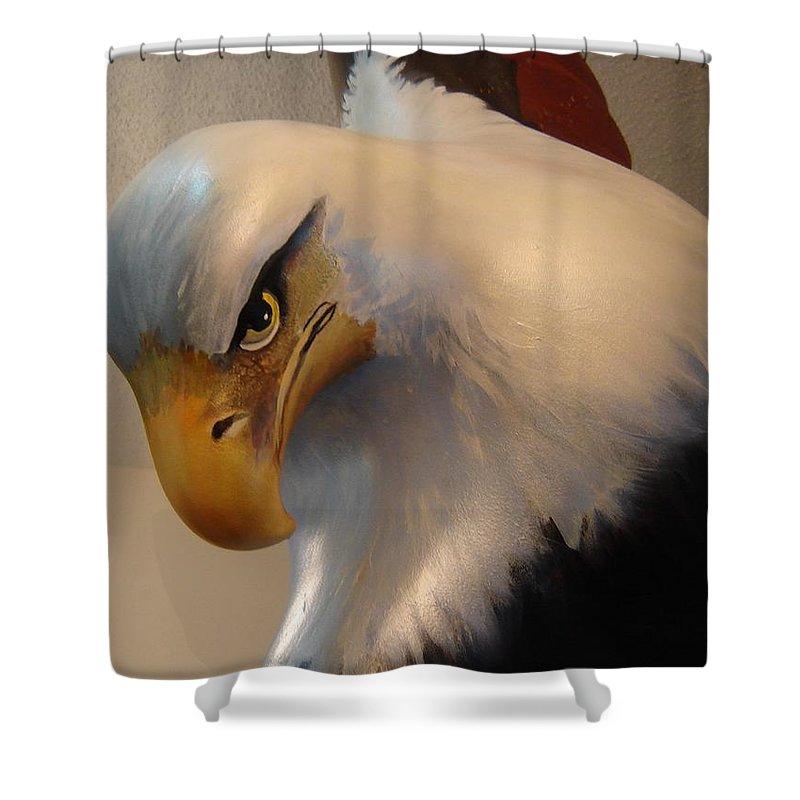 Bald Eagle Sculpture Fibreglass Shower Curtain featuring the sculpture Bald-headed Eagle Sculpture by Catherine Robertson
