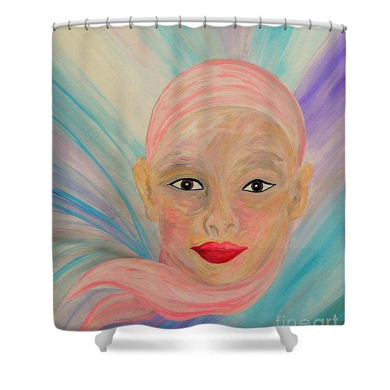Bald Shower Curtain featuring the painting Bald Is Beauty With Brown Eyes by Eloise Schneider Mote